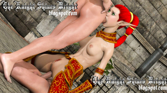 Redhead elf slut fucks with two pervert cocks