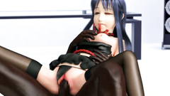 3D Girl guitarist vs three brutal guys | Interracial Gangbang - Double Penetration