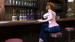 Weird creature is baing hot 3d beauty with big tits in the bar