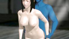 Blue monster seduces and fucks hot naked brunette gal - 3d cartoon sex