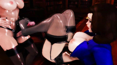 Hot and sexy babes in stockings and lingerie in futanari toon