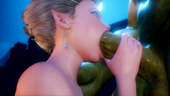 Beautiful elvish slut sucks huge monster cock