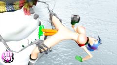 Horny snowman bangs naked slutty 3d babe