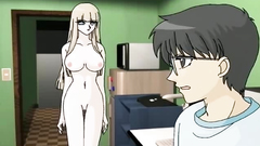 Sexy blonde babe with big beautiful tits in xxx anime