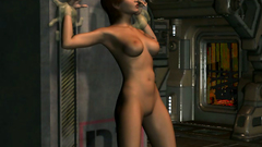Alien larva enters the pussy 3d girl and get out of her mouth