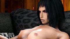 Brunette evil Futa with red eyes and huge cock fucks another futanari