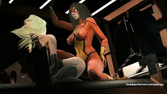 Spidergirl with strapon cock fucks cute Marvel girl