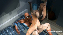 Wound 3D Girl in webs Spiderman began to penetrate her pussy with his long tongue