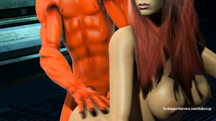 Cartoon Daredevil and redhead busty slut getting fucked in various poses