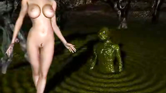 Inferno demon with huge dick attacks naked girl