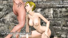 Slutty girl Elf swallows huge 3d dick