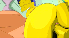The Simpsons porn with Marge getting her pussy and anus smashed by a horny Homer