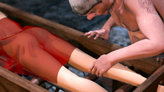 Extreme 3D BDSM with skinny redhead girl in the basement of the castle