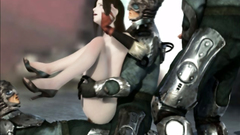 Hottie double penetrated by two kinky robots