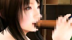 Beautiful dark-haired girl licks dick skillfully!