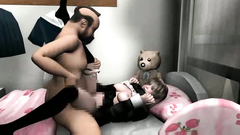 Hot brunette babe from 3D toon gets hardcore banged