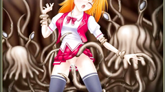 Seductive hentai blonde attacked by evil tentacles