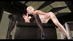 Blonde babe shows her blowjob skills in futanari toon