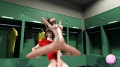 Ebony slutty teen rides sportsman's cock in the locker room
