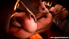 Awesome blonde babe gets fucked on her side