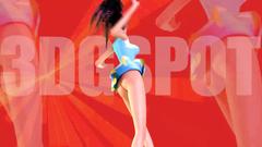Crazy brunette teen dancing in tiny skirt