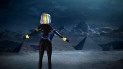 Magic night for naked egyptian goddess in 3d toon