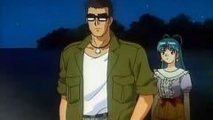 Old school anime toon with bikini beach babes