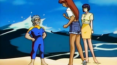 Old school anime toon with bikini beach babes