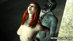 Redhead 3d babe deeply penetrated from behind by the deadman