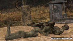 Ugly dead people fuck each other on the cemetery