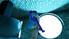 3D Blue Alien Hottie Fucked in a Temple!